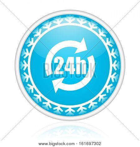 24 hours vector icon. Winter and snow design round web blue button. Christmas and holidays pushbutton.