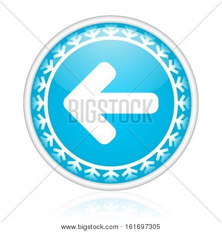 Arrow left vector icon. Winter and snow design round web blue button. Christmas and holidays pushbutton.