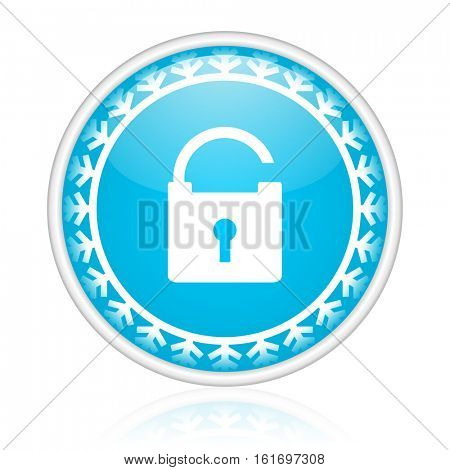 Padlock vector icon. Winter and snow design round web blue button. Christmas and holidays pushbutton.
