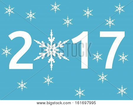 Happy New Year 2017 with snowflake on blue background. New year happy and christmas concept. Flat design. Vector illustration. EPS 8 no transparency