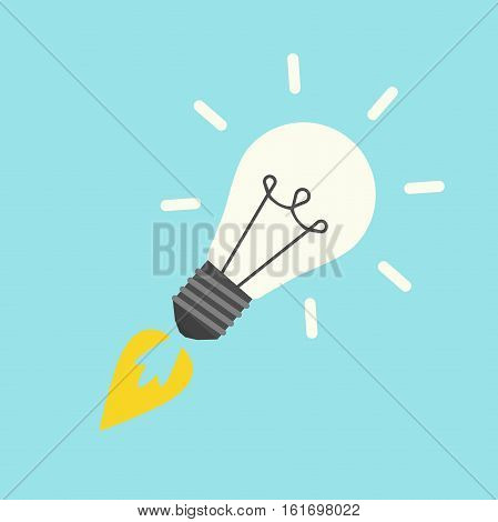 Rocket in form lightbulb isolated on blue background. Start up discovery idea and development process concept. Flat design. Vector illustration. EPS 8 no transparency