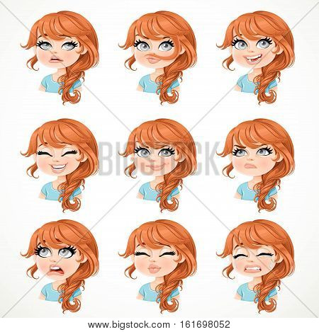 Beautiful Cartoon Brunette Girl Portrait Of Different Emotional States Set 2 Isolated On White Backg