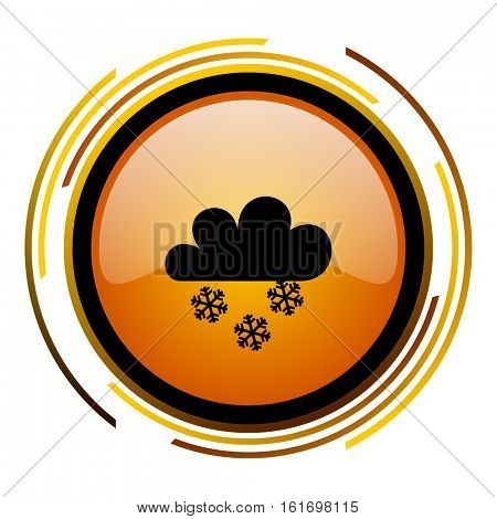 Weather forecast orange glossy vector icon.