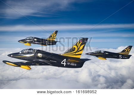 Russia - April  12,2016: L-39 aerobatic team