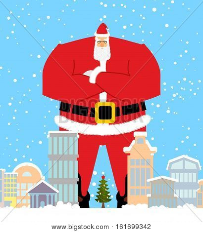 Santa Claus In City. Christmas In Town. Snow And Buildings. High Santa Walking Down Street. New Year