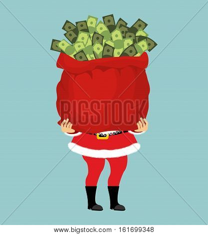 Santa And Bag Of Money. Christmas Gift Cash. Red Sack With Dollars