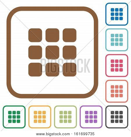 Small thumbnail view simple icons in color rounded square frames on white background