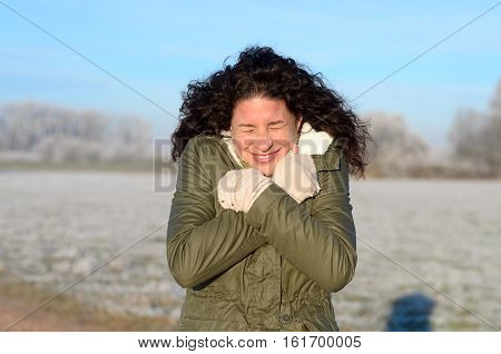 Attractive Young Woman Shivering