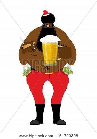 Bad Black Santa With Beer And Cigar. African American Santa Claus. Money In Pocket. Drink Away Earni