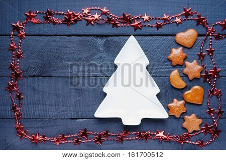Bijouterie, fir tree shape and gingerbread christmas cookies