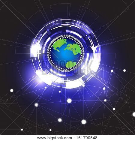 vector circle abstract background design.vector global technology background.