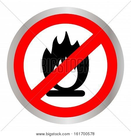 No Fire flame sign icon. Fire symbol. Stop fire. Escape from fire. Red prohibition sign. Stop symbol. Vector illustration