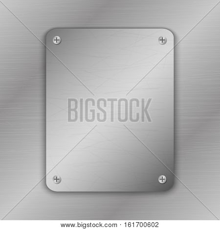 Techno vector illustration. Metal Background with plate and rivets. Metallic grunge texture. Brushed Steel iron aluminum surface. Abstract gray template. Engineering construction theme