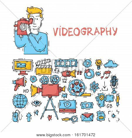 On-line Movies, post production, film and television collection, video-grapher. Set of icons. Hand drawn vintage style. Flat design vector illustration. poster