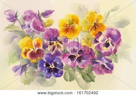 Watercolor painting of purple flowers.