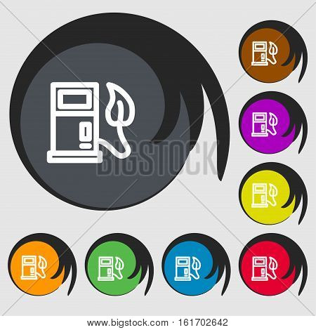 Gas Station With Leaves Icon Sign. Symbols On Eight Colored Buttons. Vector