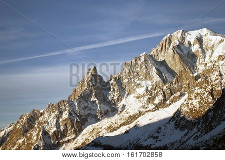 landscape with Mont Blanc and the Aiguille noire at the first light of day