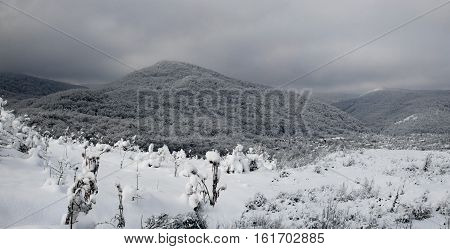 snow-covered hills early winter morning in the foothills of the Caucasus