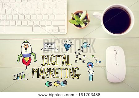 Digital Marketing Concept With Workstation