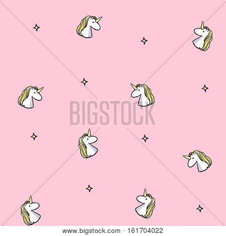 Vector seamless pattern with unicorns. Pink unicorn background