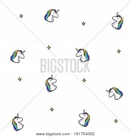 Vector seamless pattern with rainbow unicorns. White unicorn background