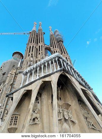 BARCELONA, SPAIN - 09.25.2016: sagrada familia basilica towers detail