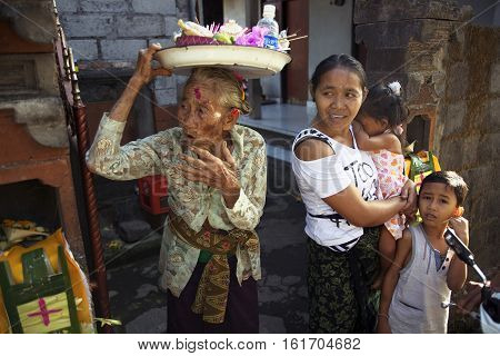 BALI INDONESIA - AUGUST 242014: Balinese family