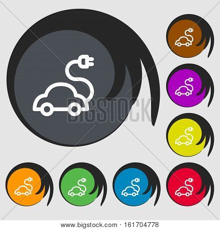 Electric Car Icon Sign. Symbols On Eight Colored Buttons. Vector