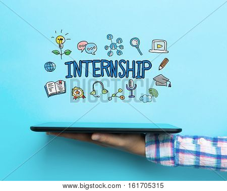 Internship Concept With A Tablet