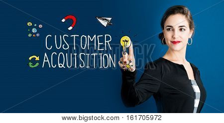 Customer Acquisition Concept With Business Woman