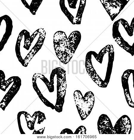 Valentine hearts pattern. Saint Valentine Day red heart seamless background hand drawn art for greeting card design. 14 February love day sketch of marker or felt-tip pen drawing poster