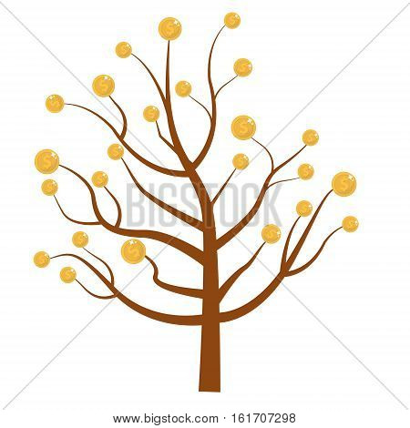 Tree with money. Coins on the tree. Flat design, isolated on white background. Vector illustration, clip art