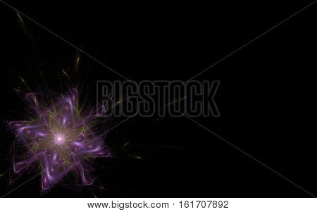 picture square small with plasma bursts in green and purple color and break wavy rays and sparks on a black background in the lower left corner.