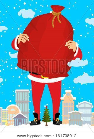 Santa Claus In City Carry Bag Of Gifts. Christmas In Town. Snow And Buildings. High Santa And Big Re