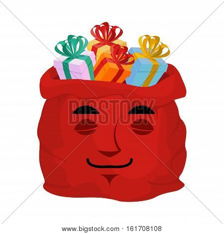 Santa Bag Sleeping Calm Emoji. Christmas  Sack With Gifts Emotion. Red Sackful Of Gifts Isolated. Cl