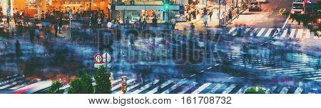 Crowds Converge At Shibuya Crossing In Tokyo, Japan