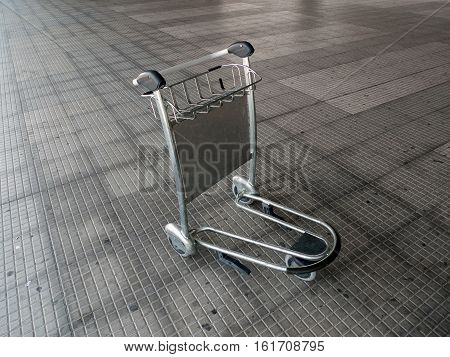 metal trolley for luggage at the airport