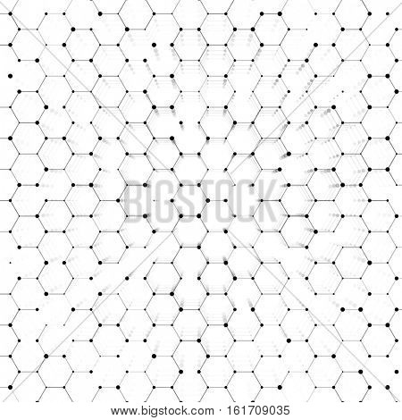 Hexagonal structure mesh or polygonal net technology background with dots connection. Hexagon geometric abstract cells pattern background