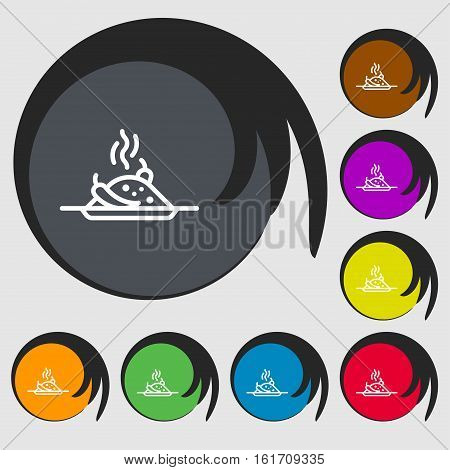 Plate With Red Hot Chili Pepper And Burning Porrige Icon Sign. Symbols On Eight Colored Buttons. Vec