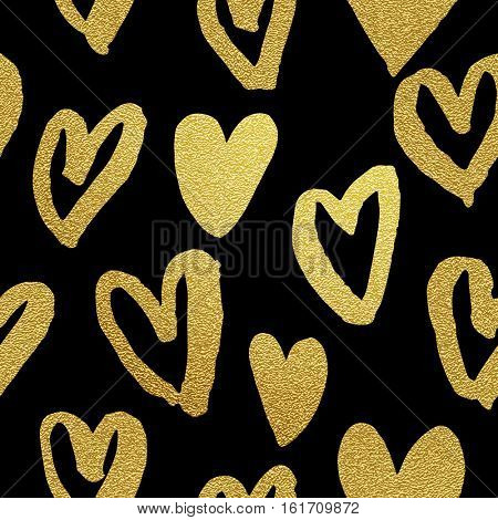 Gold foil heart pattern. Seamless Valentines Day glitter love background. Abstract premium hand drawn golden hearts on black background
