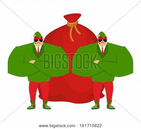 Santa Elf And Red Bag. Claus Bodyguards. Christmas Guards. Protecting Gifts For New Year. Defenders