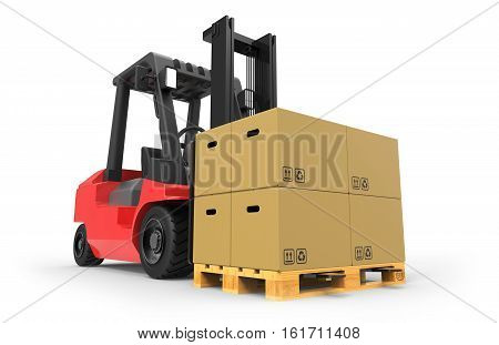 Forklift truck with boxes on pallet 3D rendering