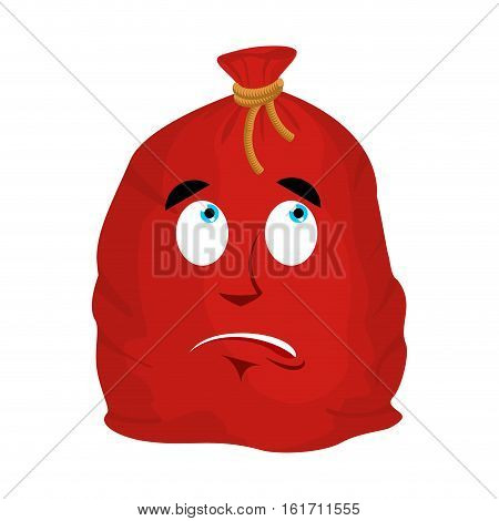 Santa Bag Surprised Emoji. Christmas Sack With Gifts Astonished Emotion. Red Sackful Of Gifts Isolat