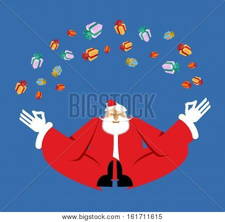 Santa Claus Yogi Meditation And Gifts. Christmas Yoga. New Year Zen. Grandfather In Lotus Position.