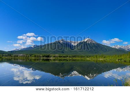 The Vermilion Lakes west of Banff Alberta in the Canadian Rocky Mountains