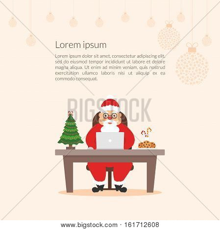 Merry Christmas and Happy New Year decorated workplace office. Cute cartoon character businessman Santa Claus. Christmas illustration. Xmas tree. Flat design vector.