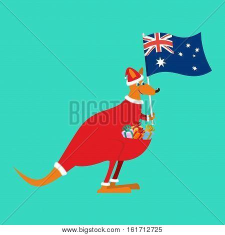 Santa Australia. Australian Kangaroo Claus. Wallaby In Christmas Cap. Gifts In Bag. Marsupials Bears