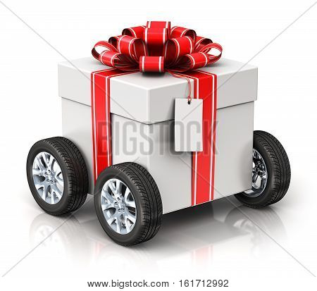 3D render illustration of tradition celebration gift box with car auto truck wheels ribbon bow and label tag isolated on white background with reflection effect