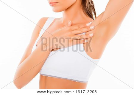 Close Up Of Young Woman Showing Her Smooth Armpit