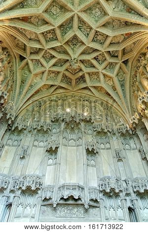 ELY, ENGLAND - JUNE 28, 2016: Bishop West's Chantry Chapel in the southeast corner of Ely cathedral. The only UK building recognized as one of the Seven Medieval Wonders of the world.